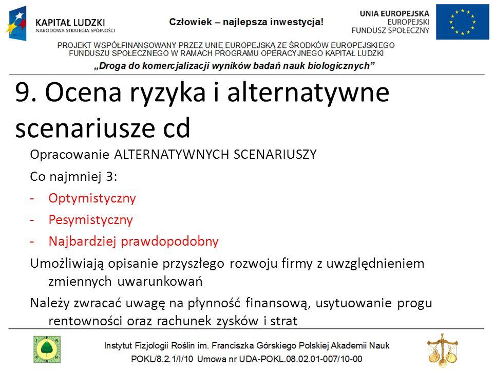 9. Ocena ryzyka i alternatywne scenariusze cd