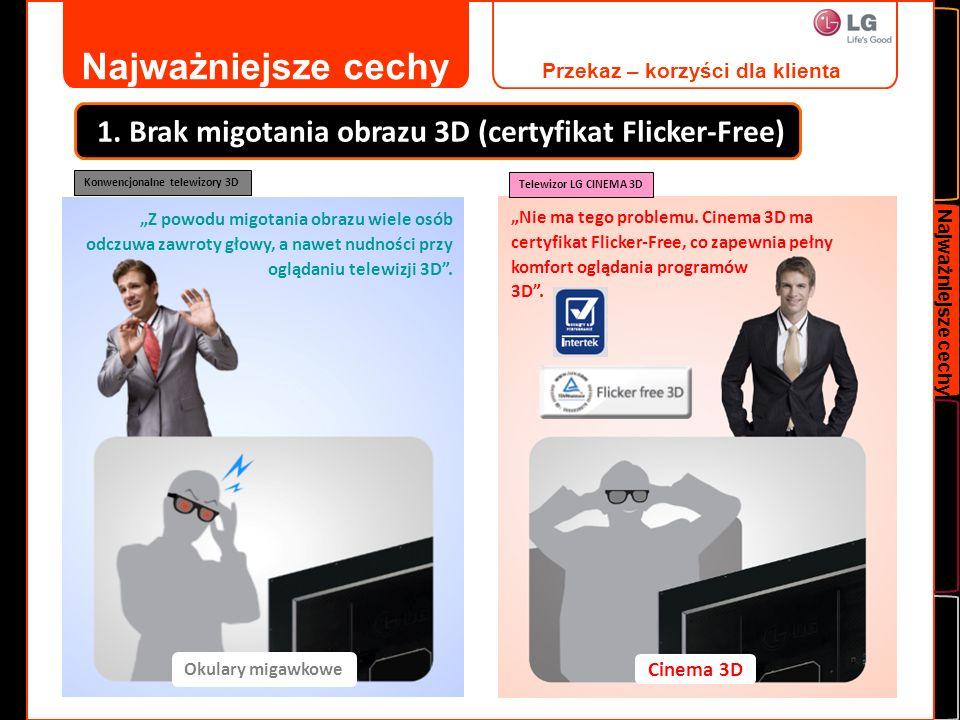Najważniejsze cechy Przekaz – korzyści dla klienta. 1. Brak migotania obrazu 3D (certyfikat Flicker-Free)