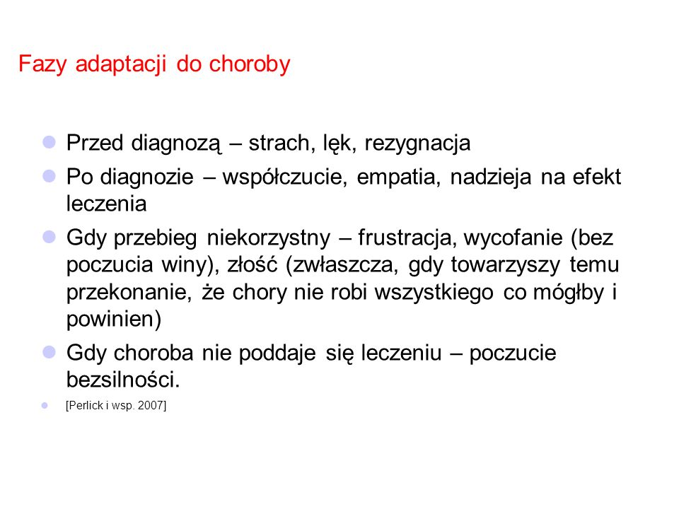 Fazy adaptacji do choroby