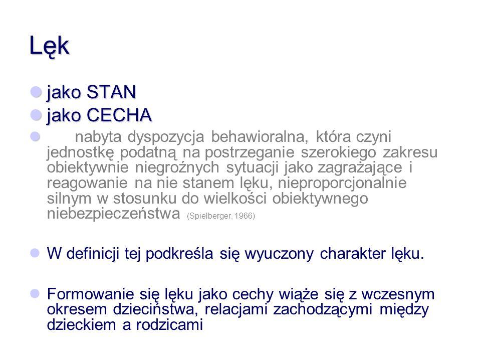 Lęk jako STAN jako CECHA