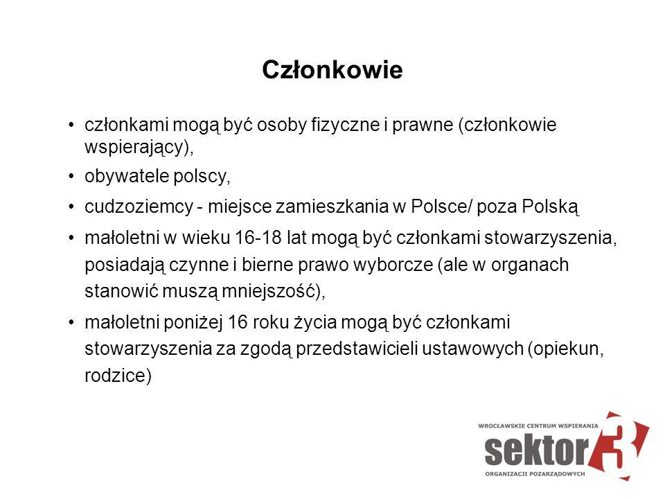 Członkowie członkami mogą być osoby fizyczne i prawne (członkowie wspierający), obywatele polscy,