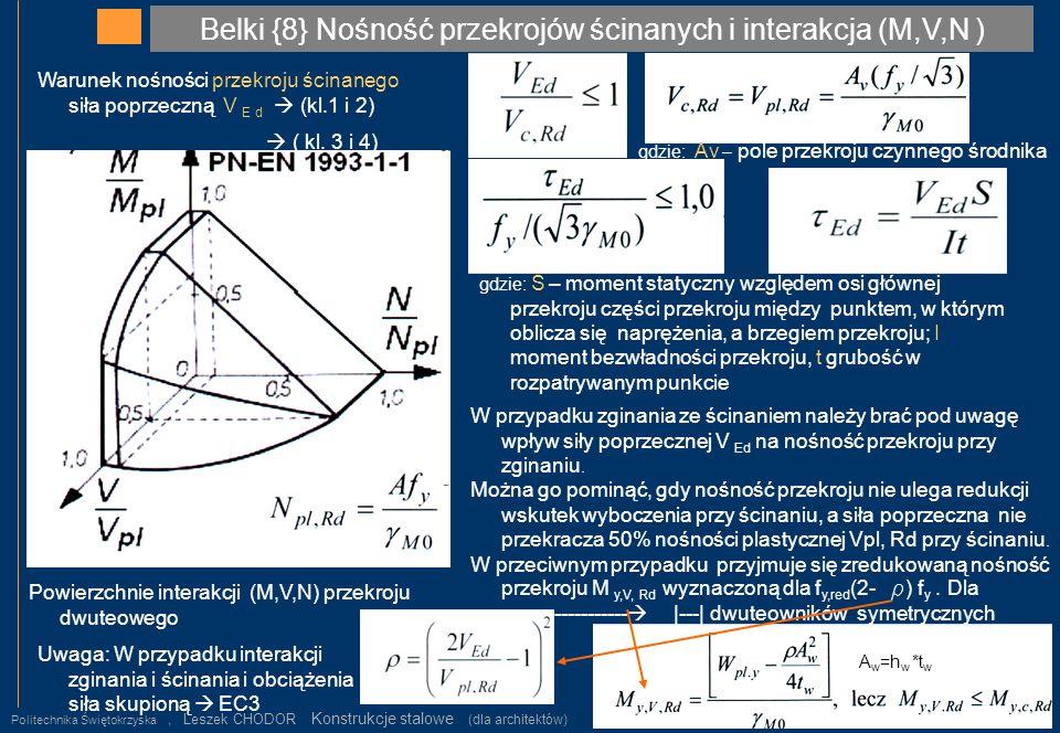Belki {8} Nośność przekrojów ścinanych i interakcja (M,V,N )