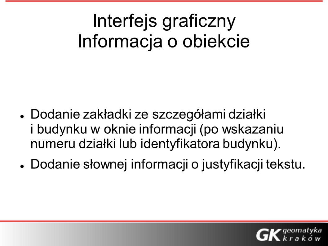 Interfejs graficzny Informacja o obiekcie