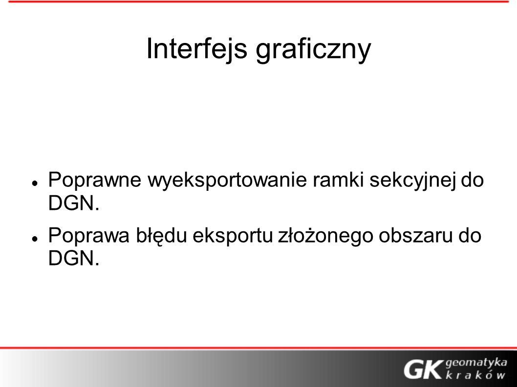 Interfejs graficzny Poprawne wyeksportowanie ramki sekcyjnej do DGN.