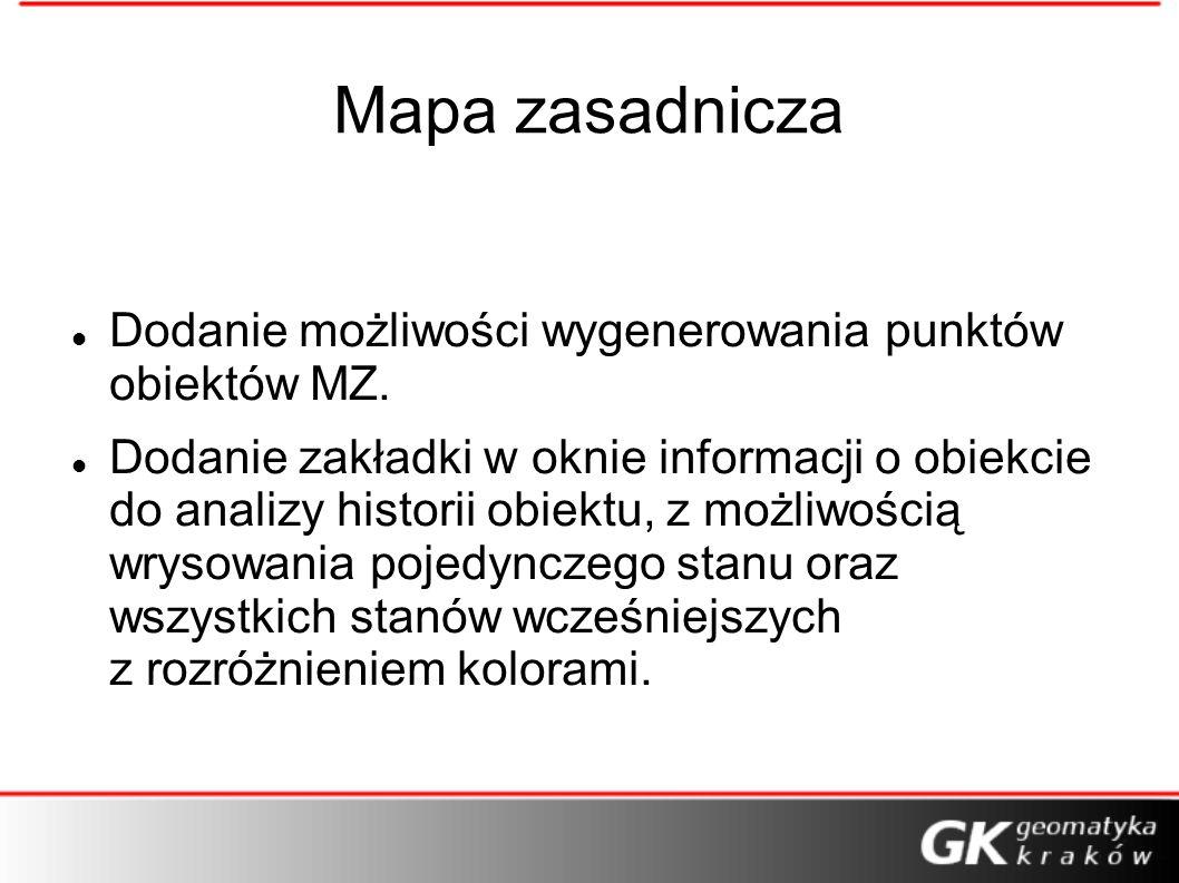 Mapa zasadnicza Dodanie możliwości wygenerowania punktów obiektów MZ.