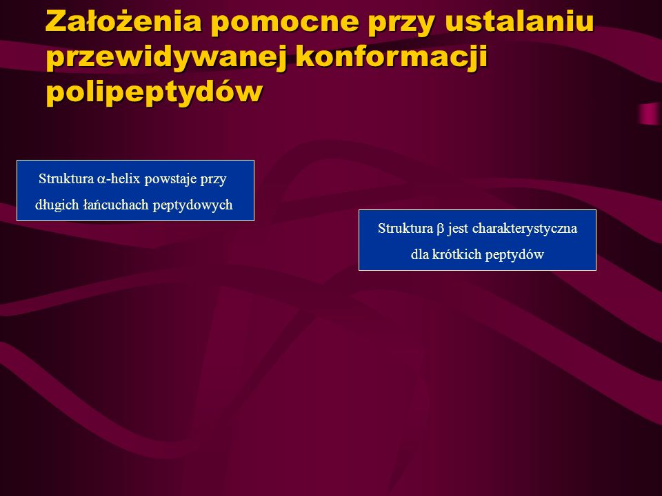 Założenia pomocne przy ustalaniu przewidywanej konformacji polipeptydów