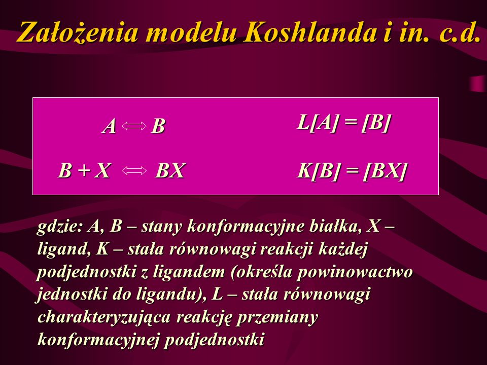 Założenia modelu Koshlanda i in. c.d.