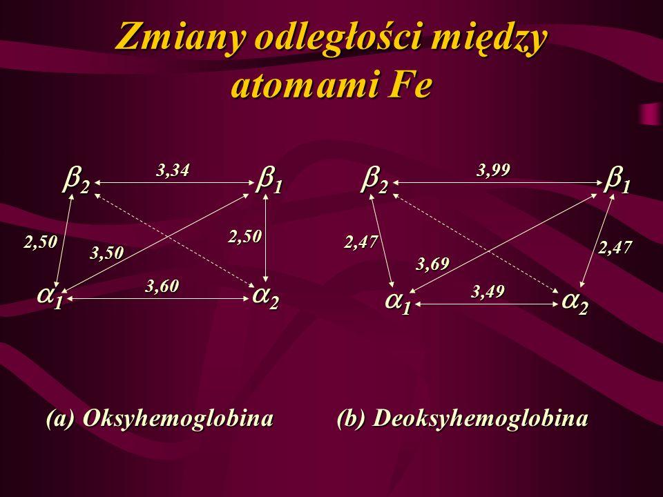 Zmiany odległości między atomami Fe