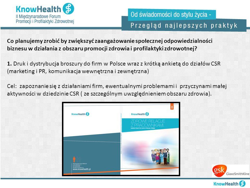Co planujemy zrobić by zwiększyć zaangażowanie społecznej odpowiedzialności biznesu w działania z obszaru promocji zdrowia i profilaktyki zdrowotnej.