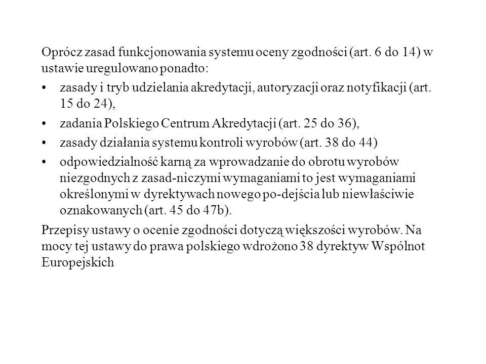 Oprócz zasad funkcjonowania systemu oceny zgodności (art