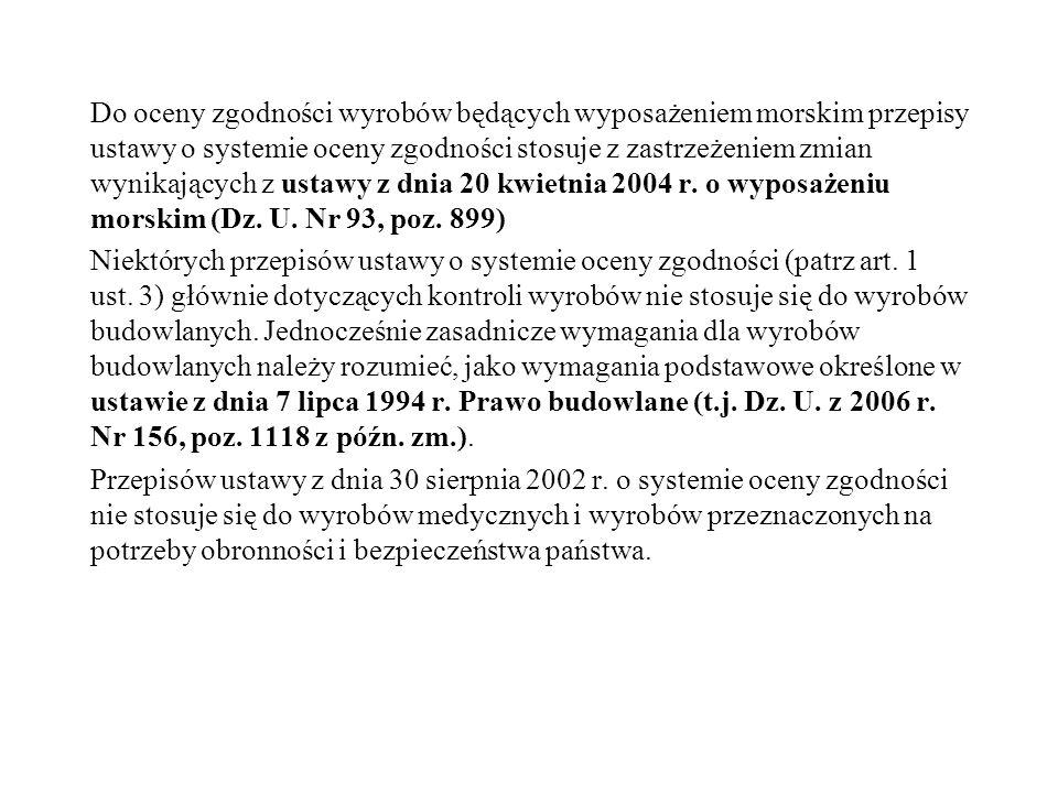 Do oceny zgodności wyrobów będących wyposażeniem morskim przepisy ustawy o systemie oceny zgodności stosuje z zastrzeżeniem zmian wynikających z ustawy z dnia 20 kwietnia 2004 r.