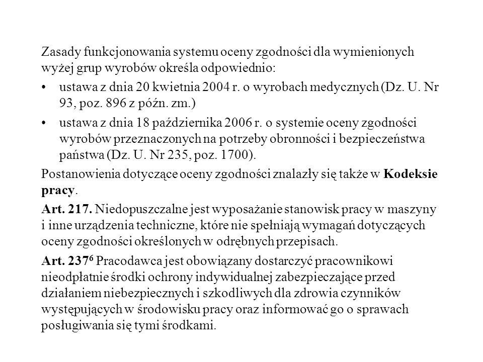 Zasady funkcjonowania systemu oceny zgodności dla wymienionych wyżej grup wyrobów określa odpowiednio: