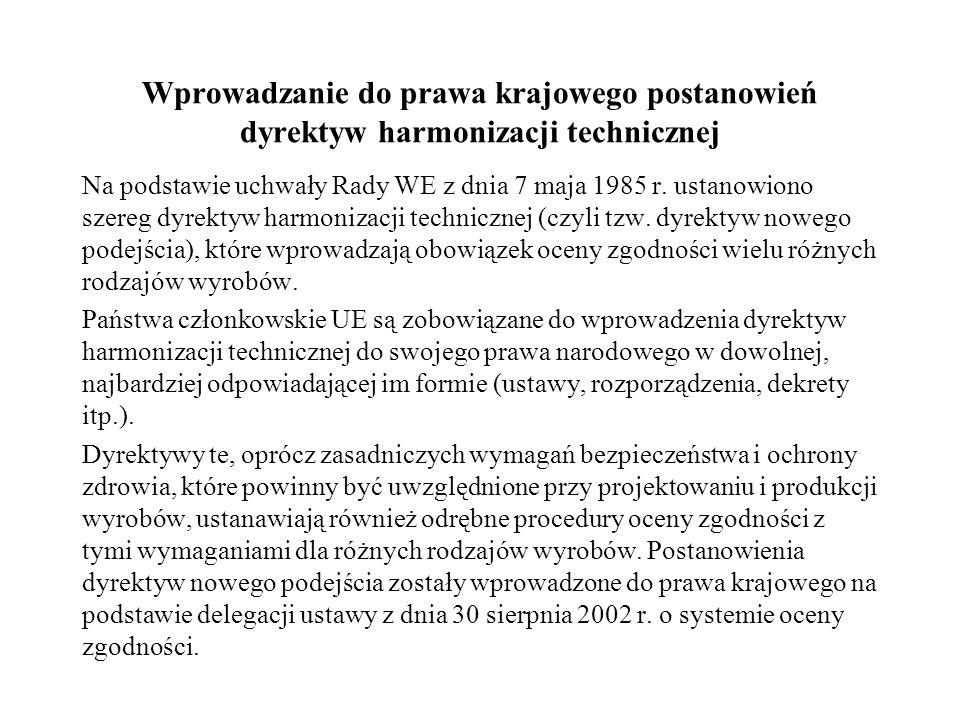 Wprowadzanie do prawa krajowego postanowień dyrektyw harmonizacji technicznej
