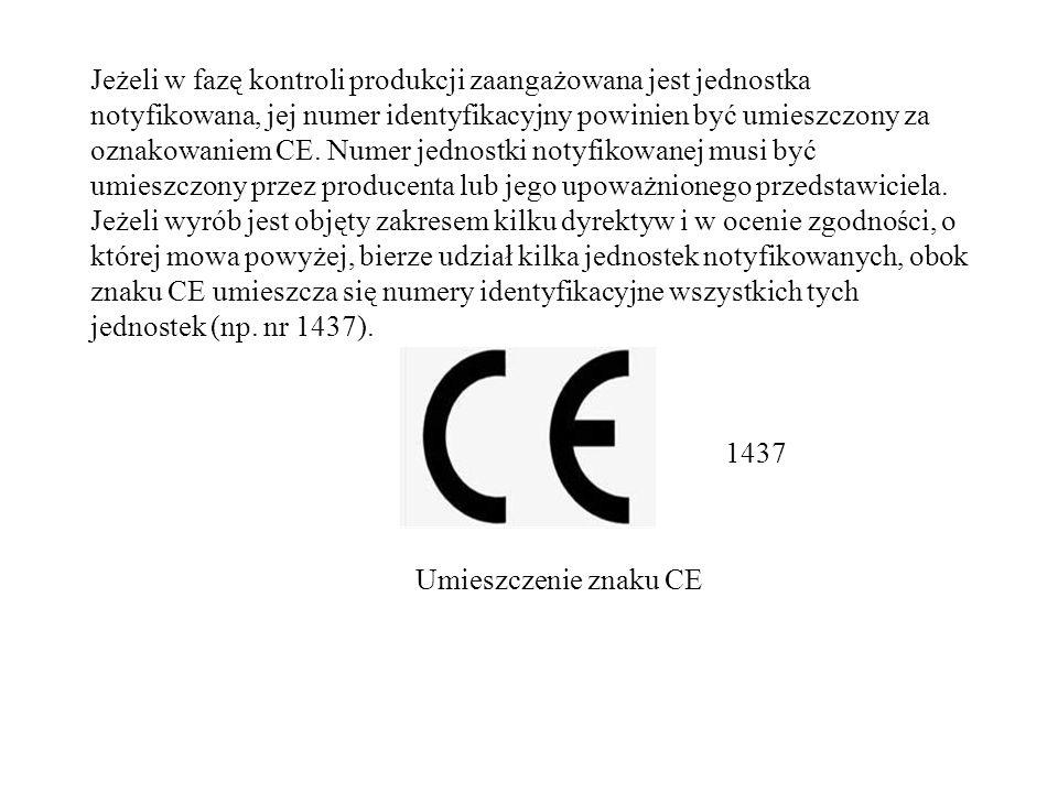 Jeżeli w fazę kontroli produkcji zaangażowana jest jednostka notyfikowana, jej numer identyfikacyjny powinien być umieszczony za oznakowaniem CE.