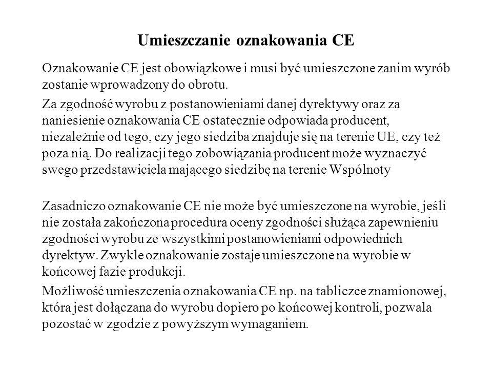 Umieszczanie oznakowania CE