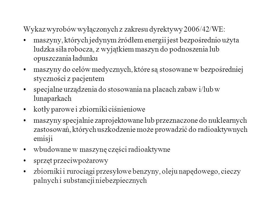 Wykaz wyrobów wyłączonych z zakresu dyrektywy 2006/42/WE: