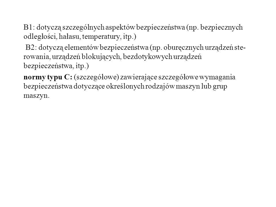 B1: dotyczą szczególnych aspektów bezpieczeństwa (np
