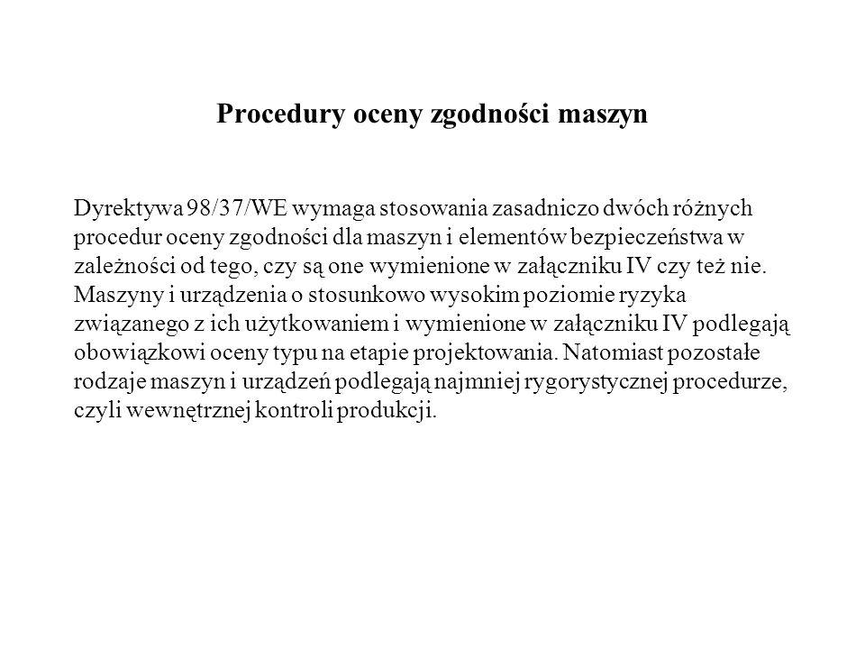 Procedury oceny zgodności maszyn
