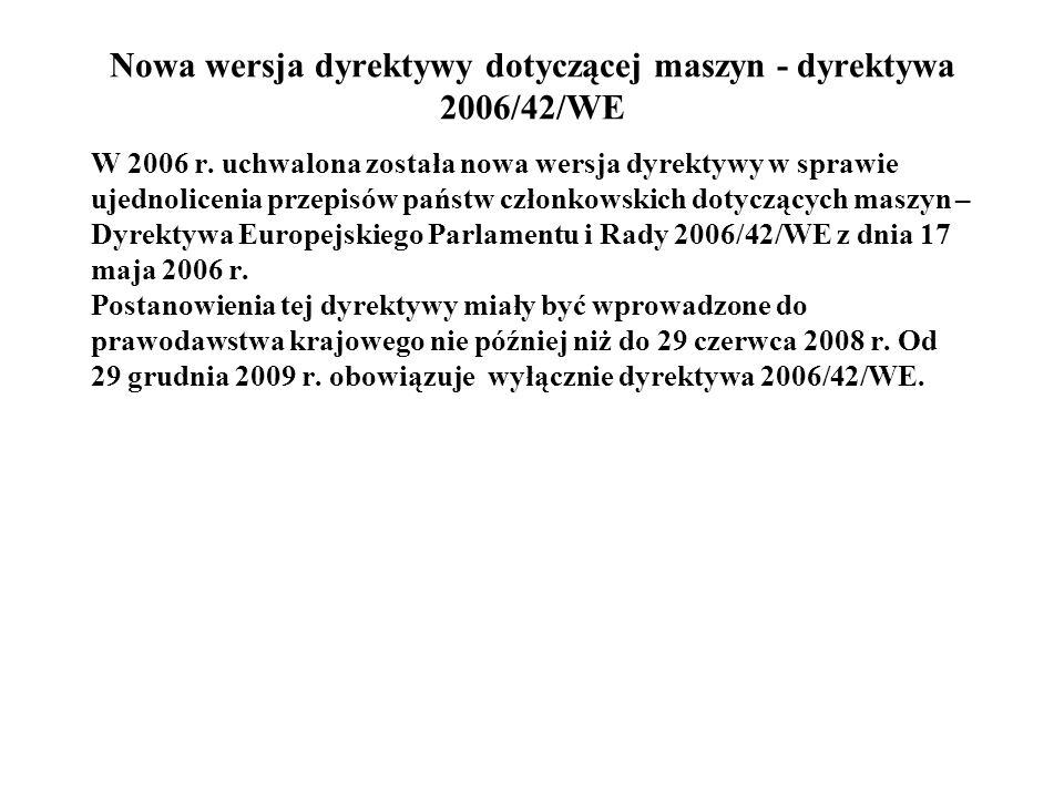 Nowa wersja dyrektywy dotyczącej maszyn - dyrektywa 2006/42/WE