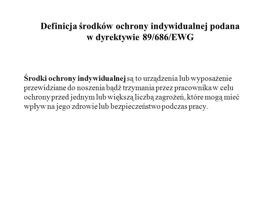 Definicja środków ochrony indywidualnej podana w dyrektywie 89/686/EWG