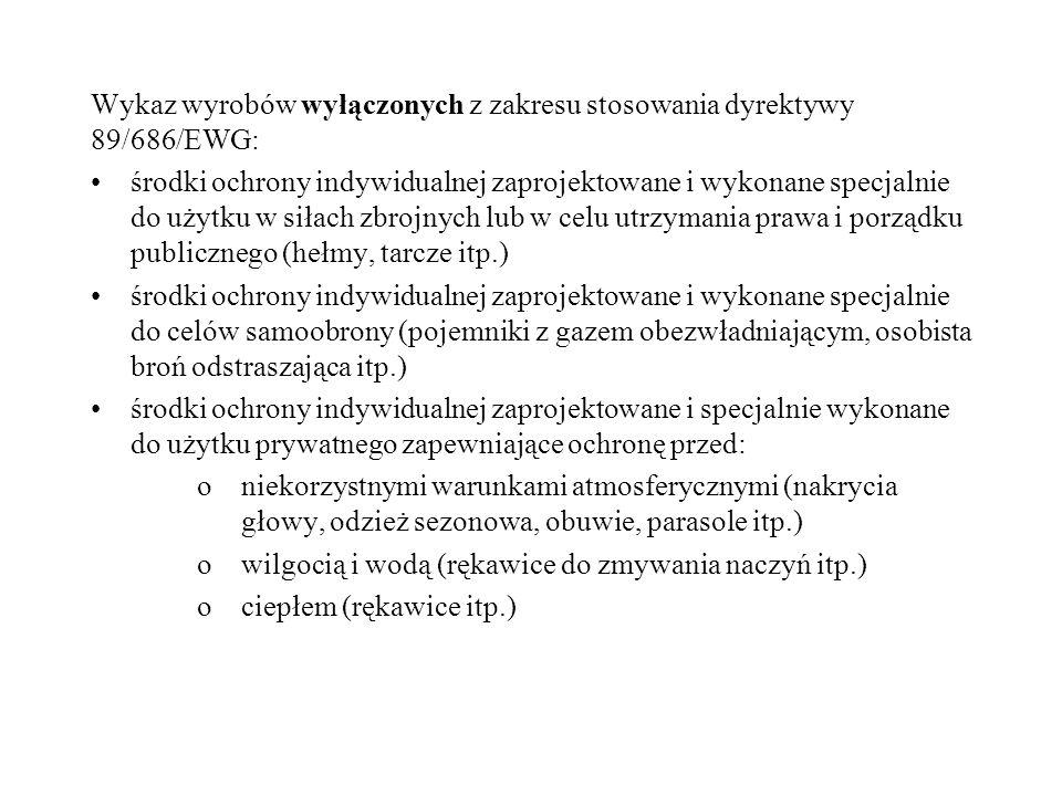Wykaz wyrobów wyłączonych z zakresu stosowania dyrektywy 89/686/EWG: