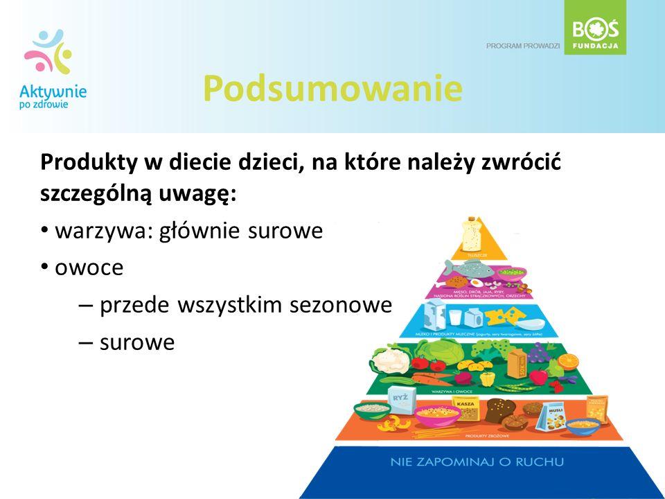 Podsumowanie Produkty w diecie dzieci, na które należy zwrócić szczególną uwagę: warzywa: głównie surowe.