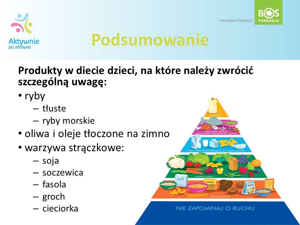 Podsumowanie Produkty w diecie dzieci, na które należy zwrócić szczególną uwagę: ryby. tłuste. ryby morskie.
