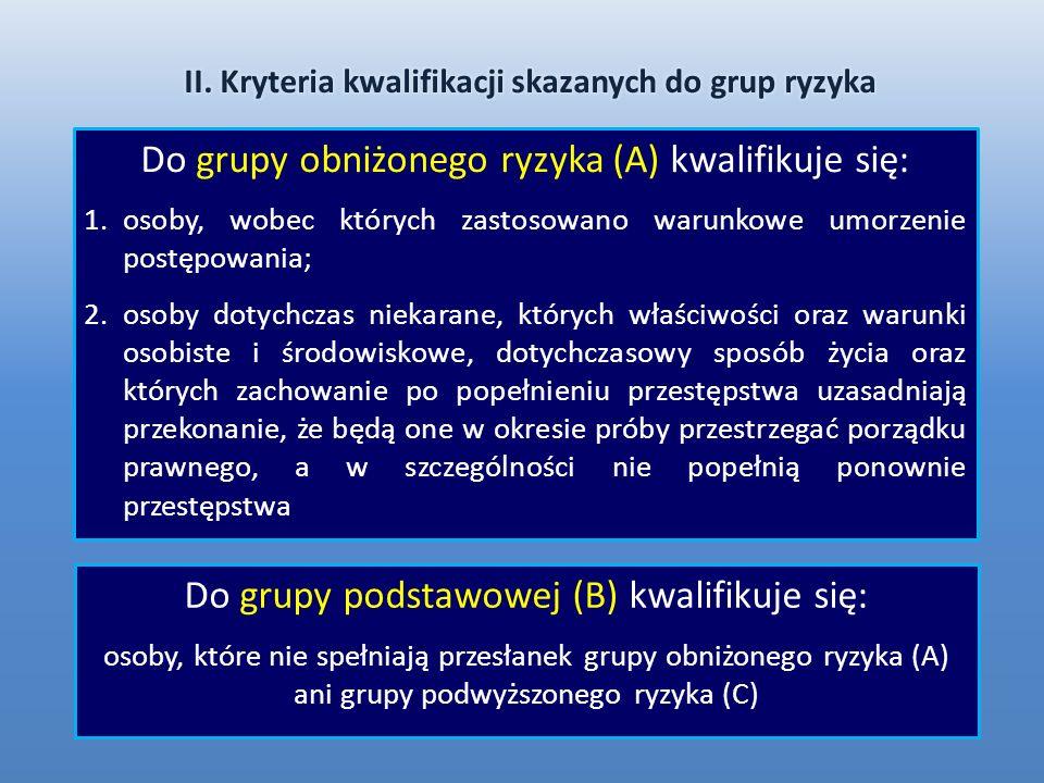 II. Kryteria kwalifikacji skazanych do grup ryzyka