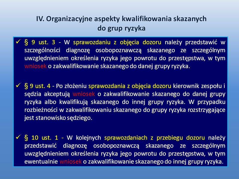 IV. Organizacyjne aspekty kwalifikowania skazanych