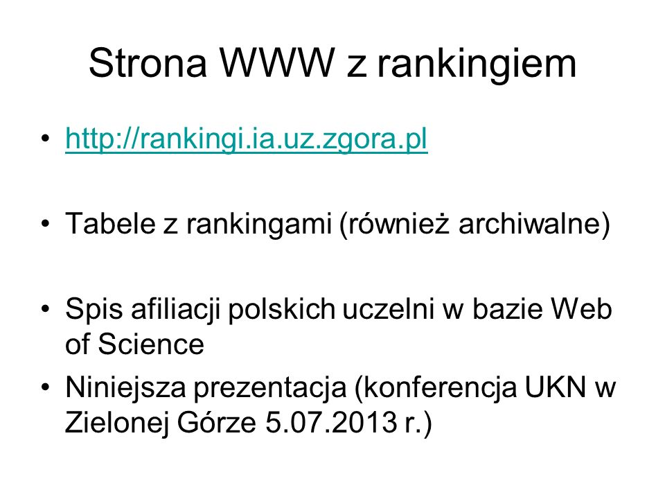 Strona WWW z rankingiem