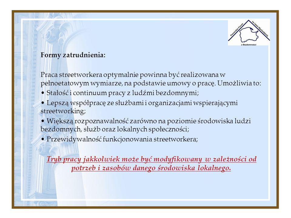 Formy zatrudnienia:Praca streetworkera optymalnie powinna być realizowana w pełnoetatowym wymiarze, na podstawie umowy o pracę. Umożliwia to: