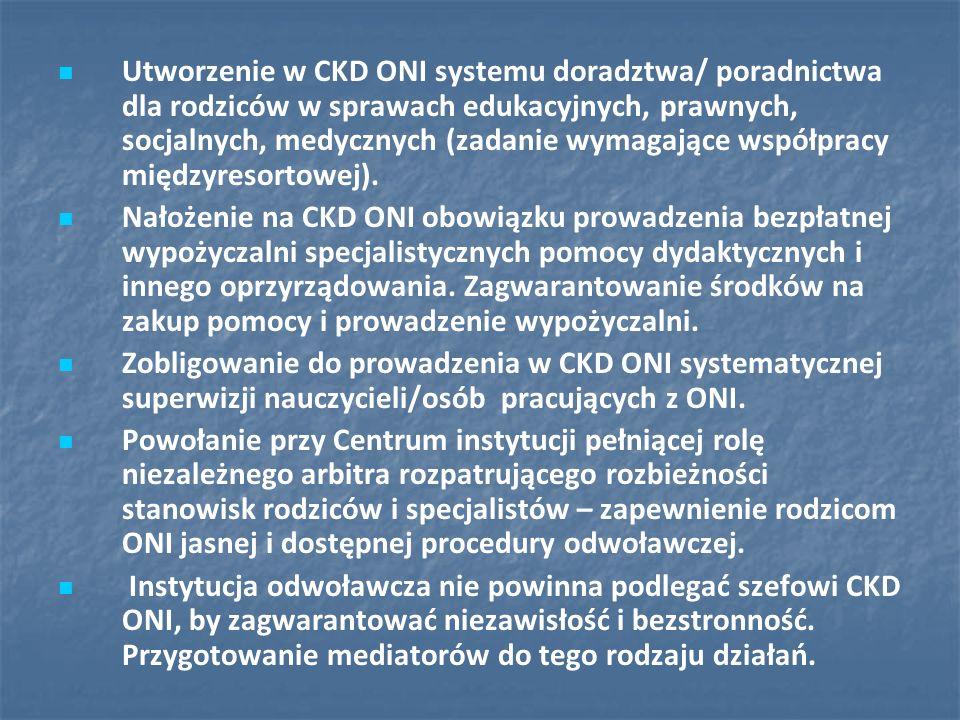 Utworzenie w CKD ONI systemu doradztwa/ poradnictwa dla rodziców w sprawach edukacyjnych, prawnych, socjalnych, medycznych (zadanie wymagające współpracy międzyresortowej).