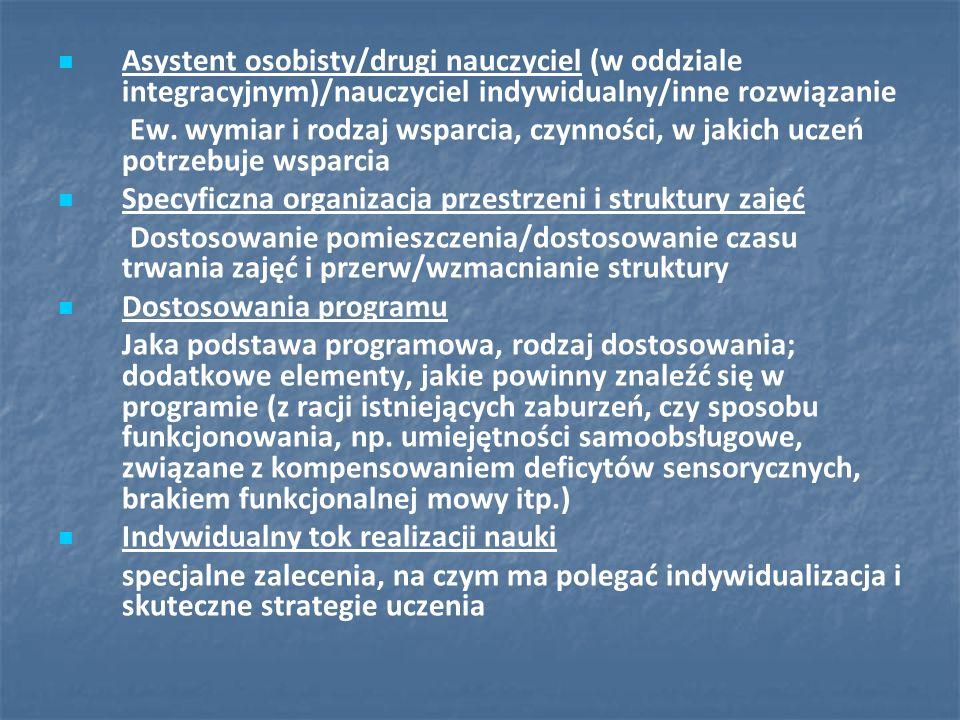 Asystent osobisty/drugi nauczyciel (w oddziale integracyjnym)/nauczyciel indywidualny/inne rozwiązanie