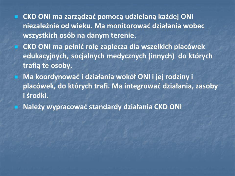 CKD ONI ma zarządzać pomocą udzielaną każdej ONI niezależnie od wieku