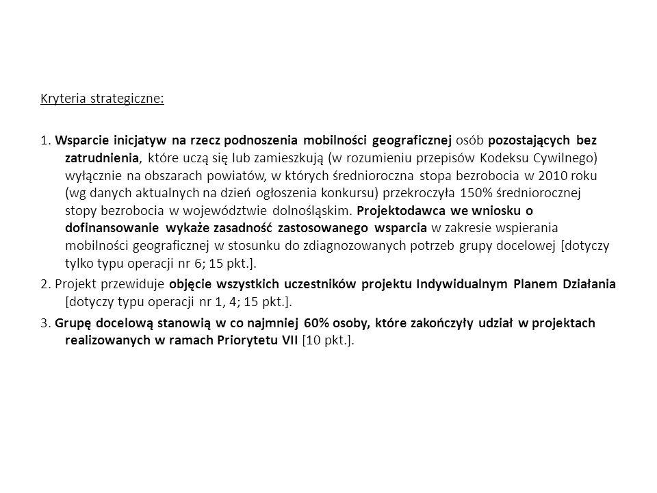 Kryteria strategiczne: 1
