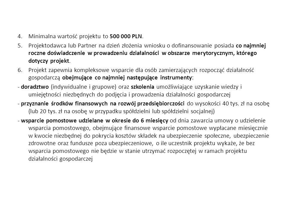 Minimalna wartość projektu to 500 000 PLN.