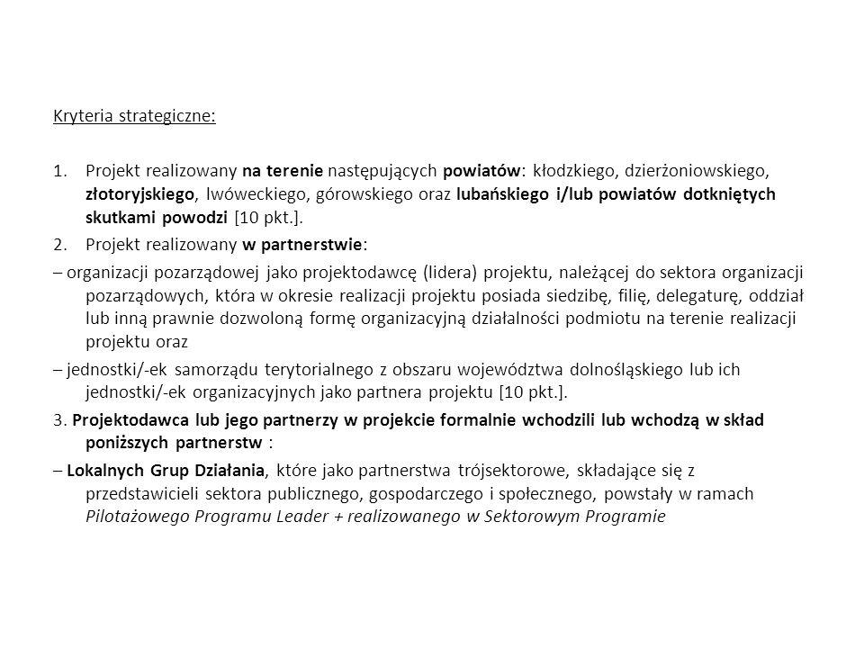 Kryteria strategiczne: