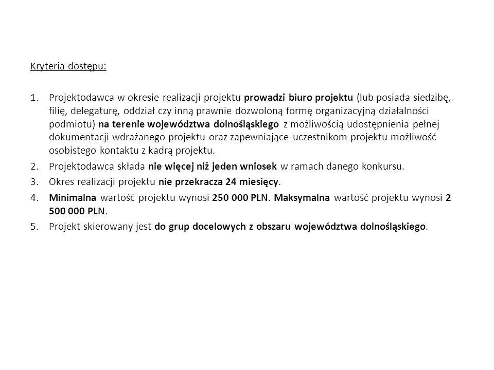Kryteria dostępu: