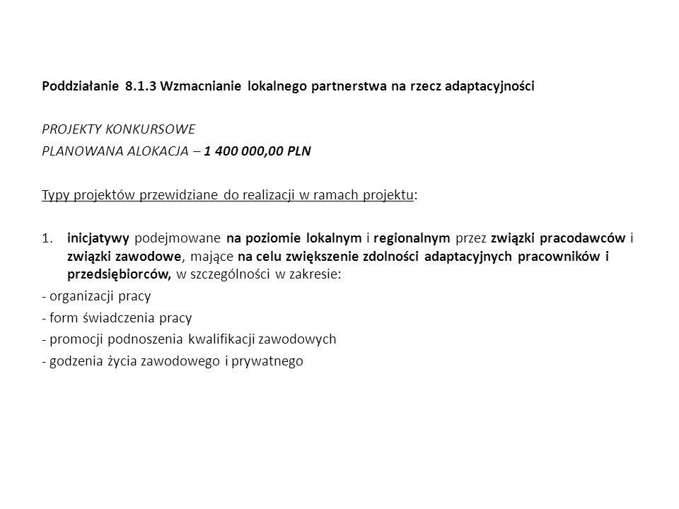 Poddziałanie 8.1.3 Wzmacnianie lokalnego partnerstwa na rzecz adaptacyjności PROJEKTY KONKURSOWE PLANOWANA ALOKACJA – 1 400 000,00 PLN Typy projektów przewidziane do realizacji w ramach projektu: 1.