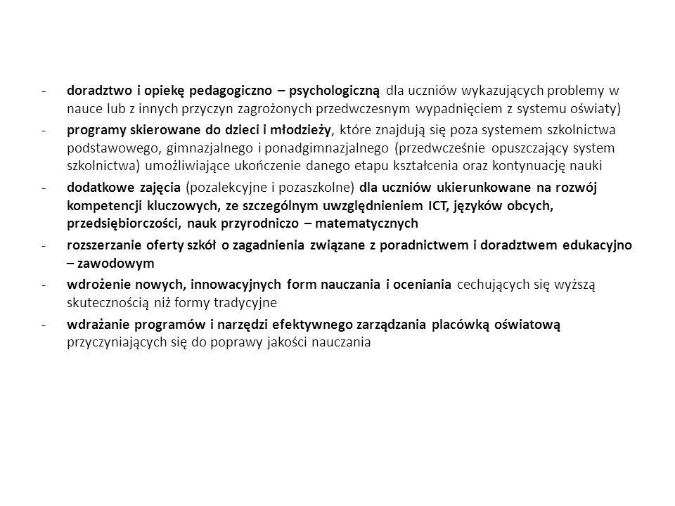 doradztwo i opiekę pedagogiczno – psychologiczną dla uczniów wykazujących problemy w nauce lub z innych przyczyn zagrożonych przedwczesnym wypadnięciem z systemu oświaty)