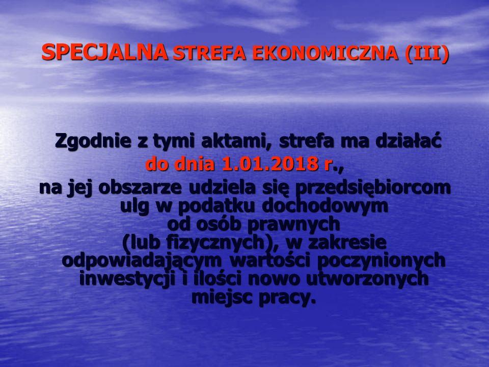 SPECJALNA STREFA EKONOMICZNA (III)