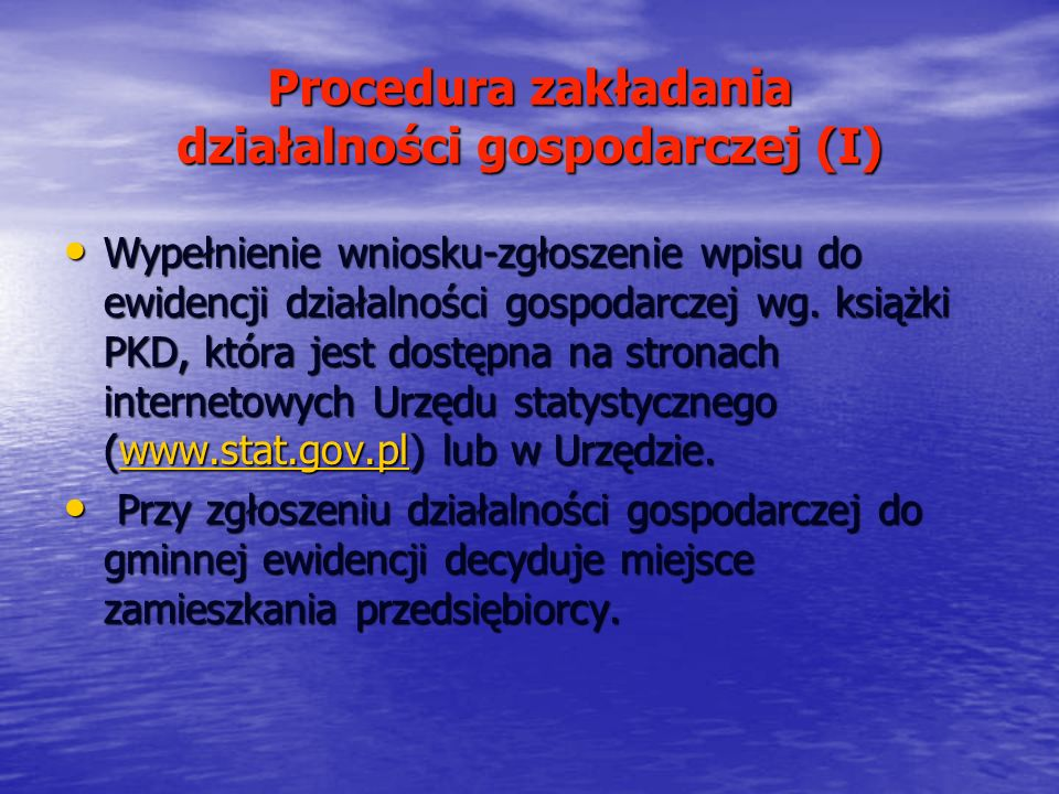 Procedura zakładania działalności gospodarczej (I)