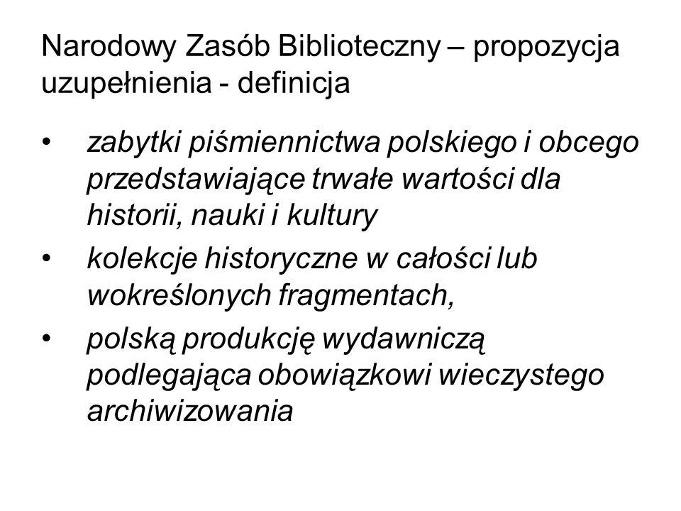 Narodowy Zasób Biblioteczny – propozycja uzupełnienia - definicja