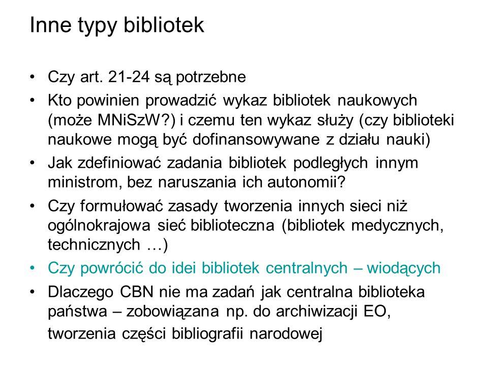 Inne typy bibliotek Czy art. 21-24 są potrzebne