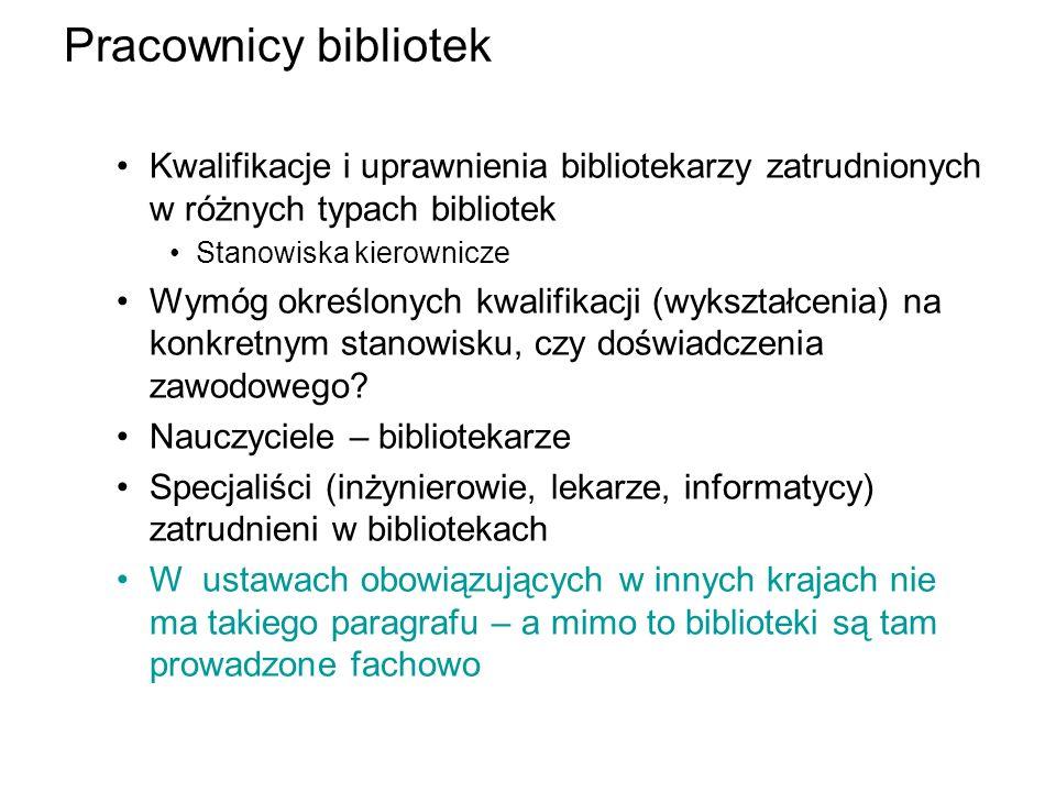 Pracownicy bibliotek Kwalifikacje i uprawnienia bibliotekarzy zatrudnionych w różnych typach bibliotek.