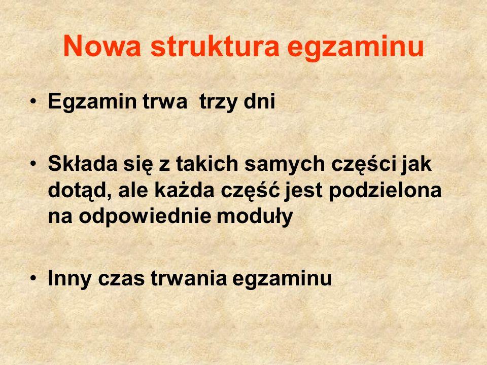 Nowa struktura egzaminu