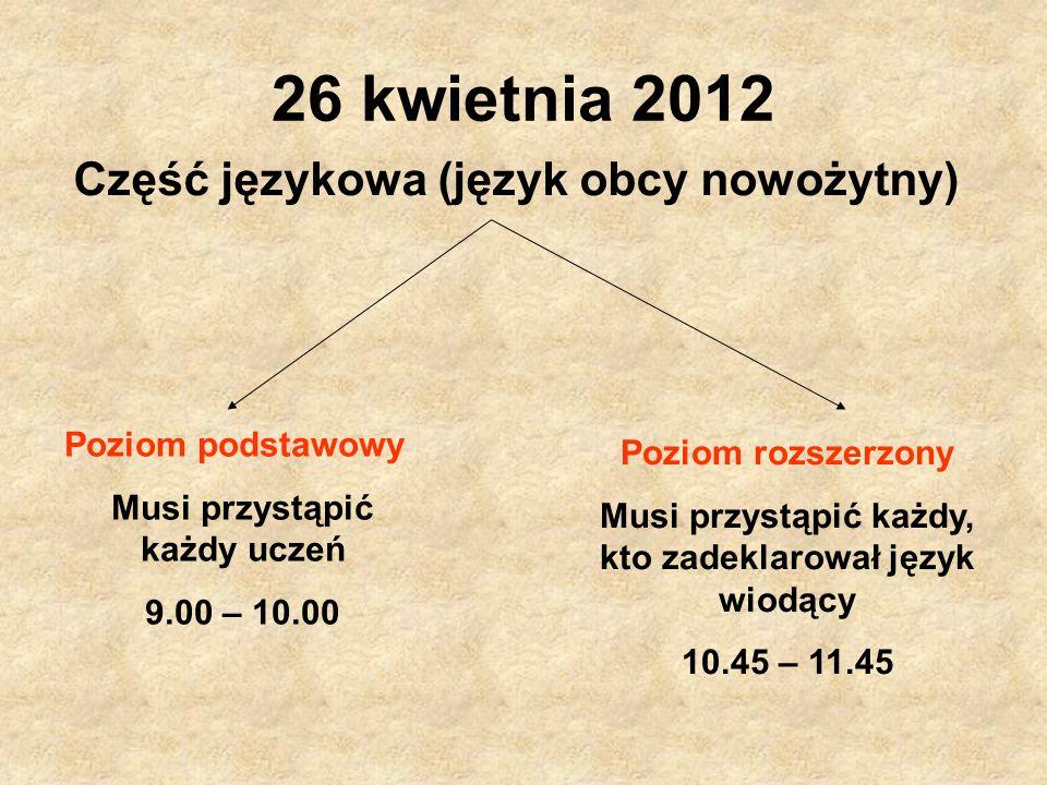26 kwietnia 2012 Część językowa (język obcy nowożytny)