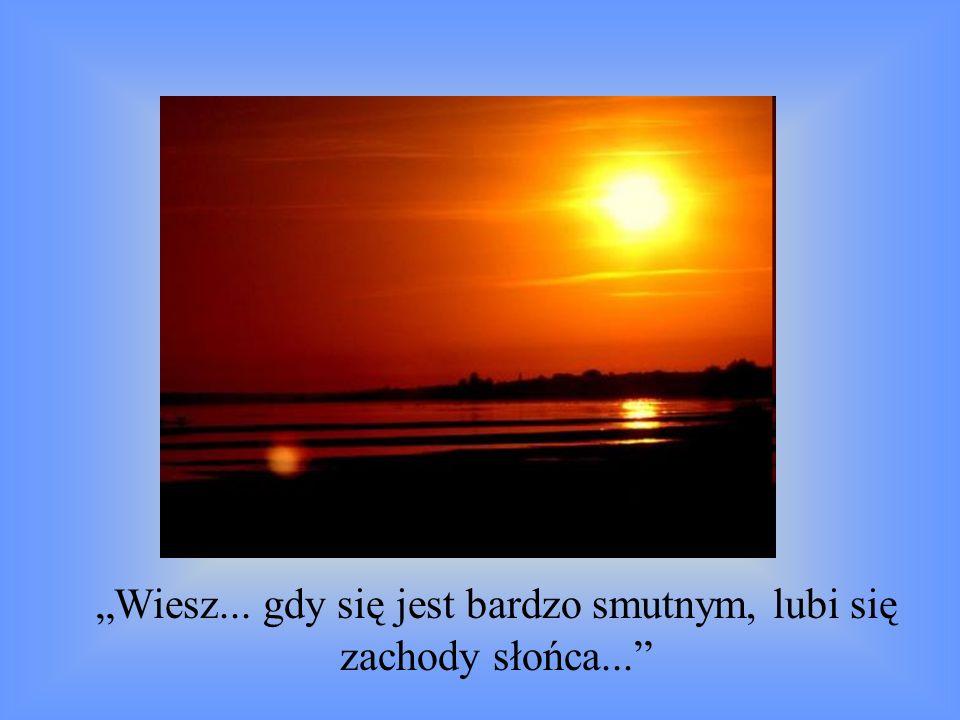 """""""Wiesz... gdy się jest bardzo smutnym, lubi się zachody słońca..."""