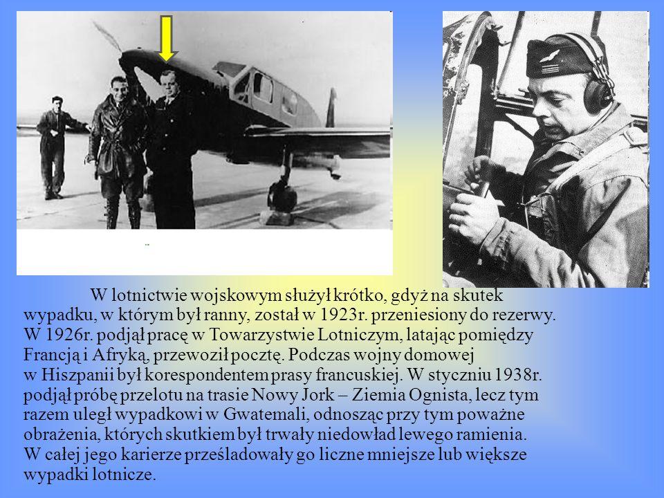 W lotnictwie wojskowym służył krótko, gdyż na skutek wypadku, w którym był ranny, został w 1923r.