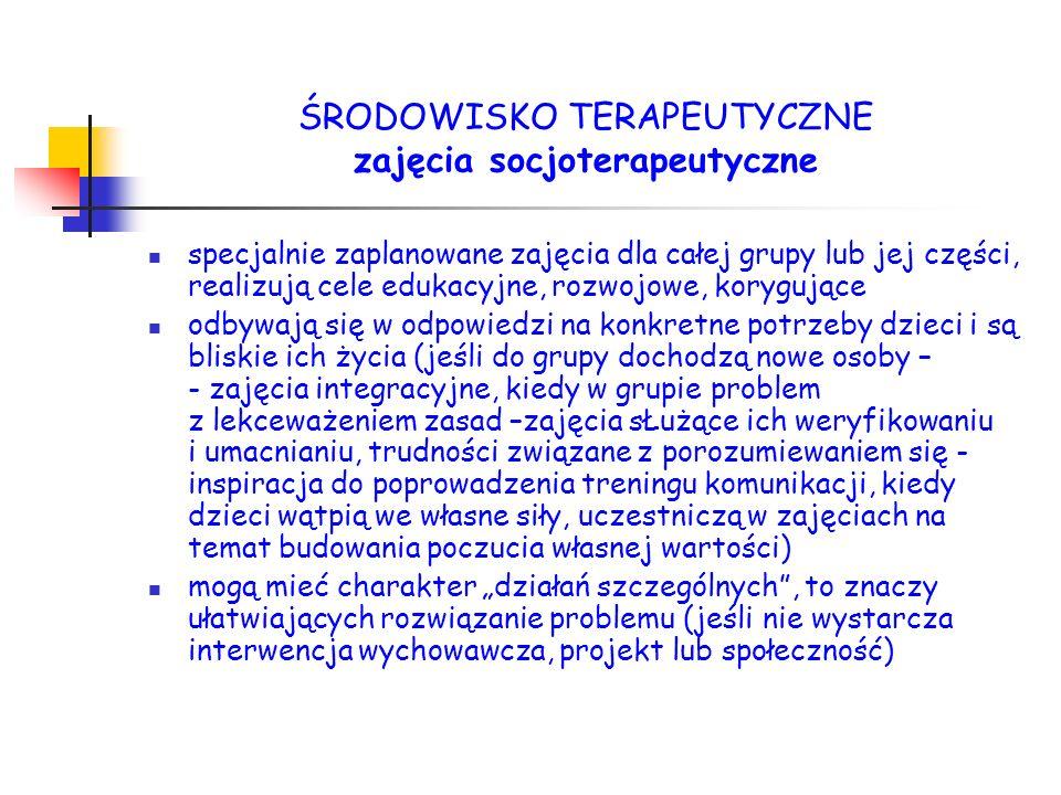 ŚRODOWISKO TERAPEUTYCZNE zajęcia socjoterapeutyczne